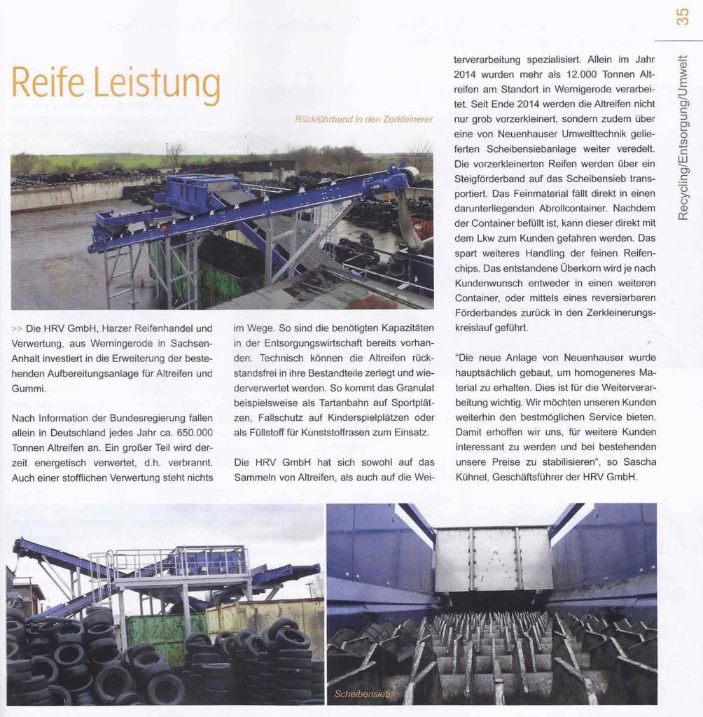 HRV GmbH - Zeitungsartikel Reife Leistung
