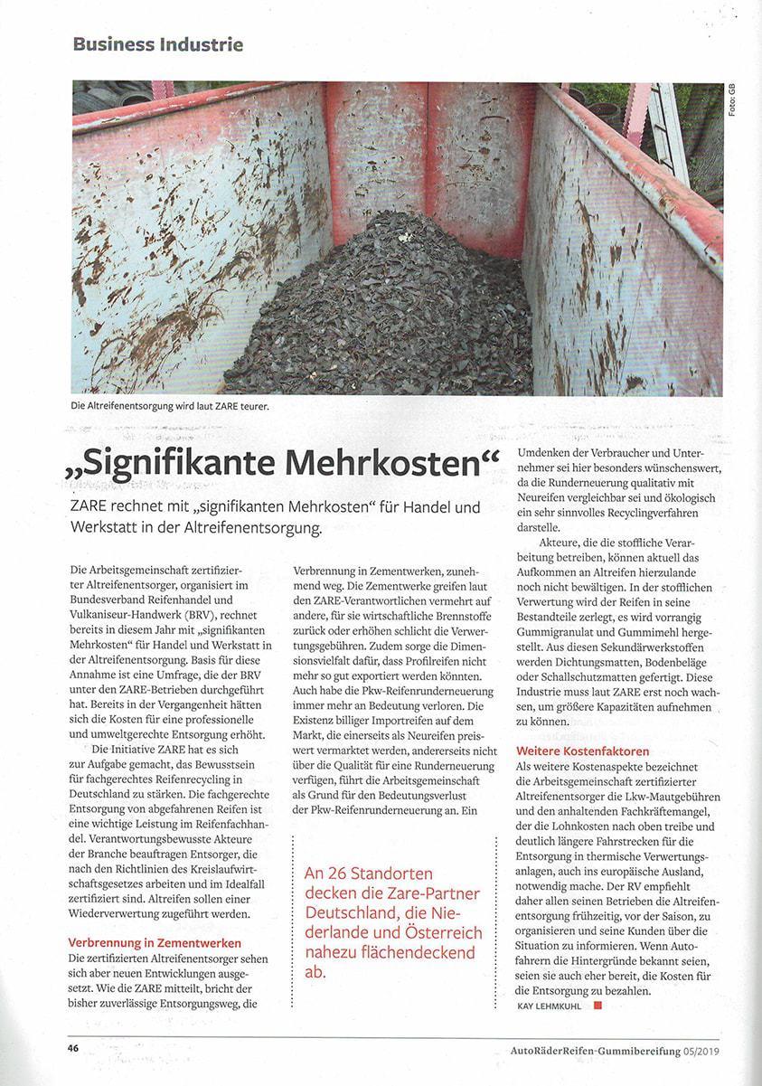"""Zeitungsartikel """"Siginifikante Mehrkosten"""" aus der Gummibereifung 05/2019"""