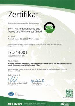ZErtifikat ISO 14001 2019-2022